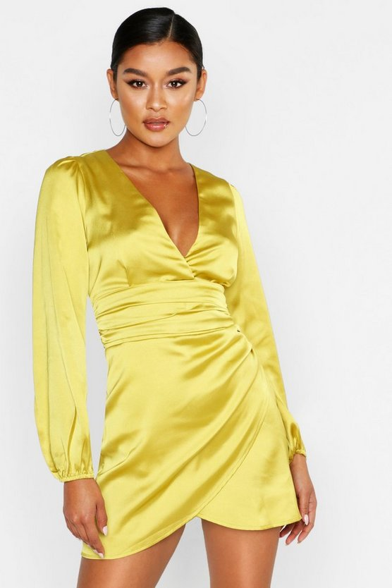 Womens Satin-Minikleid Mit Wickeldesign - Chartreuse - 38