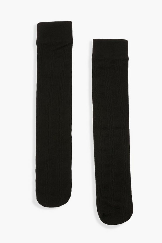 Womens 2Er-Pack Kniehohe Thermo-Socken Mit Zopfmuster - Black - One Size