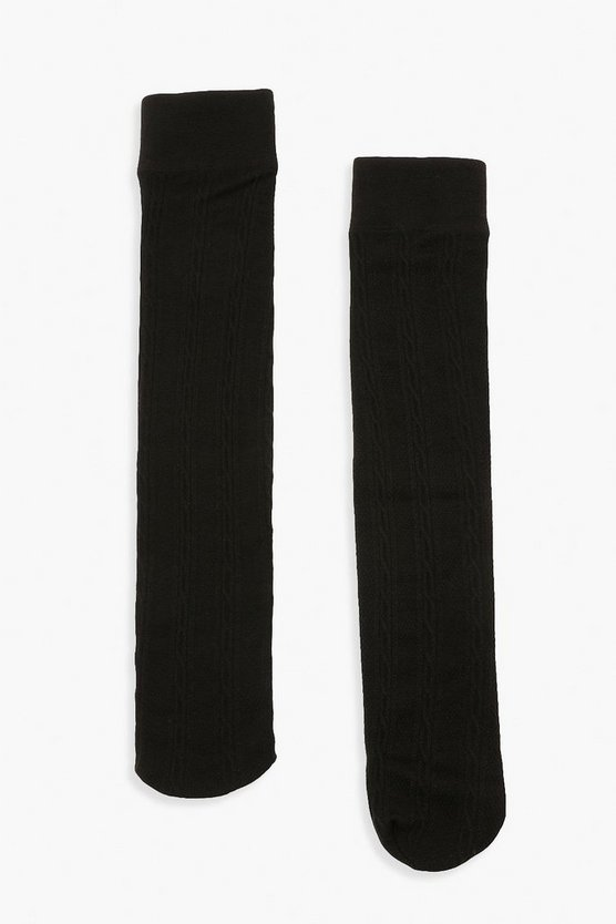 Womens Kniehohe Thermo-Socken Mit Zopfmuster - Black - One Size