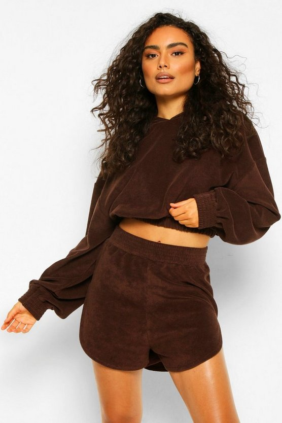 Womens Mix N Match Towelling Hoodie - Chocolate - Xs