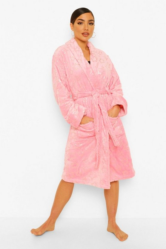 Womens Star Print Dressing Gown - Pink - 20/22