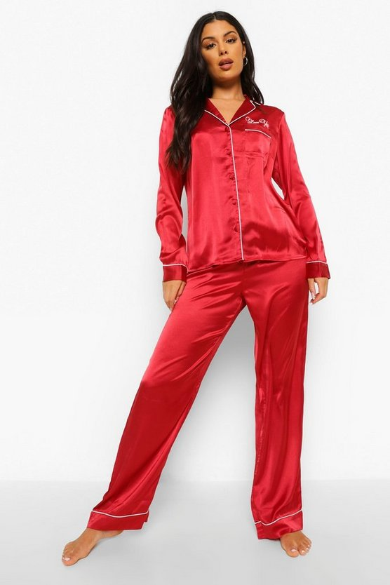 Womens Love You Embroidered Pyjmas - 42