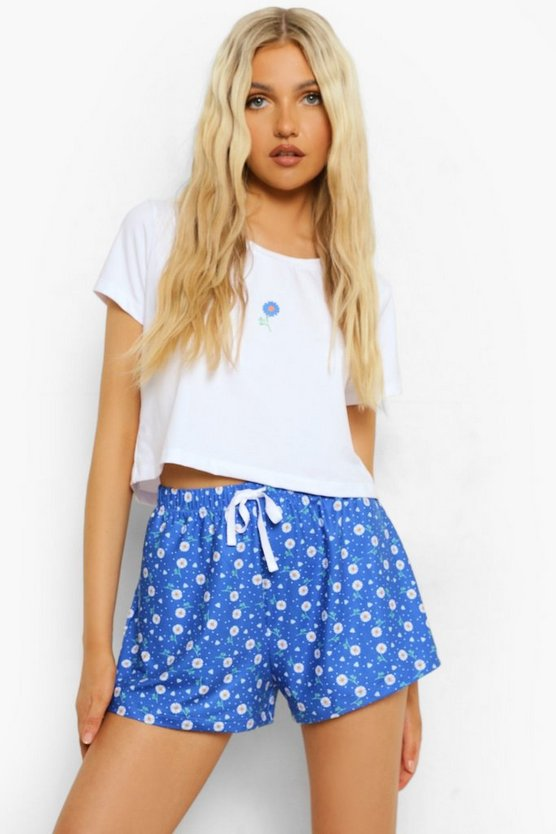 Womens Floral Crop Tee Pj Short Set - Cobalt - M