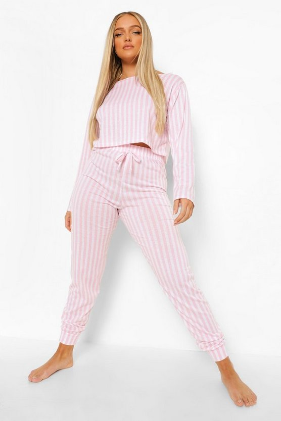 Womens Stripe Crop And Jogger Pj Set - Pink - 42
