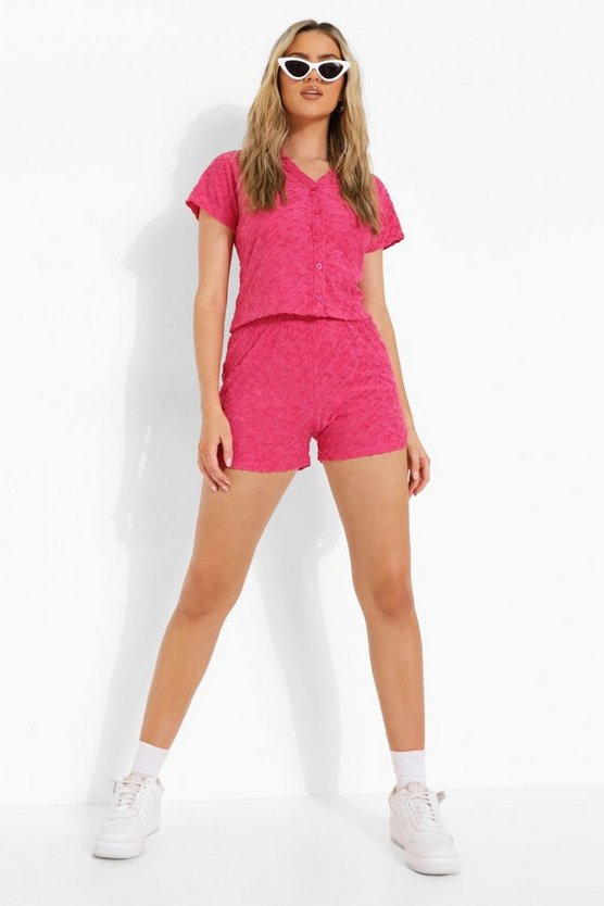 Womens Geprägte Official Frottee-Shorts - Hot Pink - 38