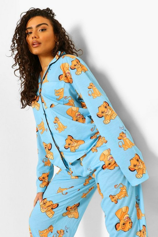 Womens Disney Lion King Pj Shirt And Trouser Set - Blue - 42