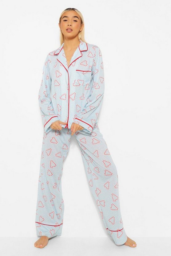 Womens Mix And Match Candy Cane Pj Trousers - Blue - 42