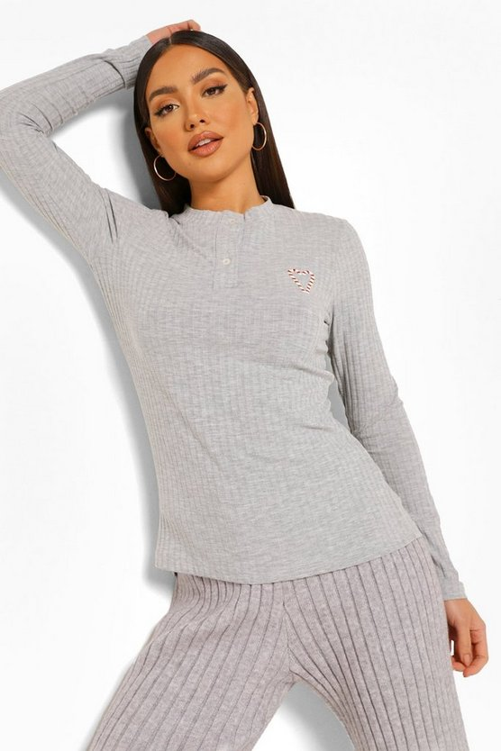 Womens Mix And Match Rib Candy Cane Pj Top - Grey - 42