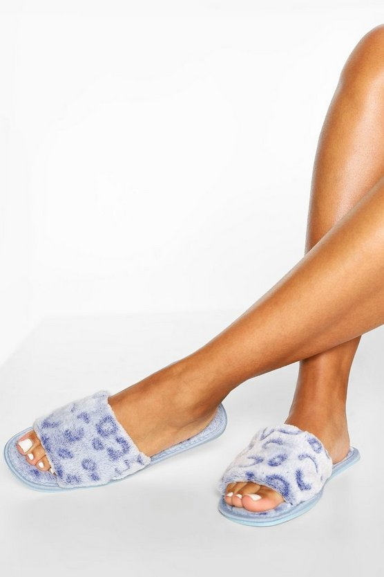 Womens Burnout Leopard Slippers - Baby Blue - 34