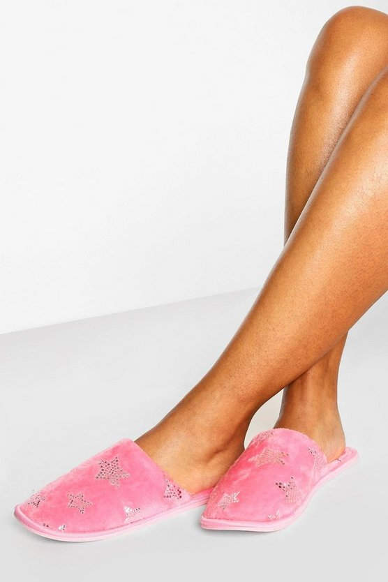 Womens Sequin Star Slippers - Baby Pink - 34