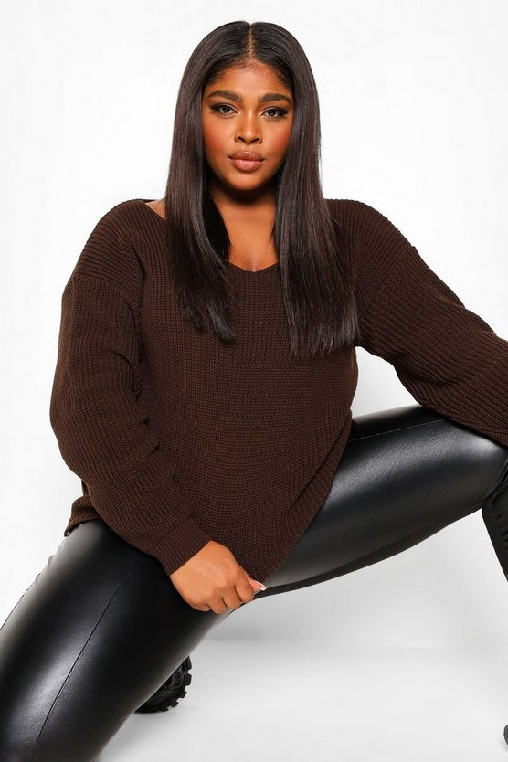 Womens Plus Oversized V Neck Jumper - Chocolate - 46