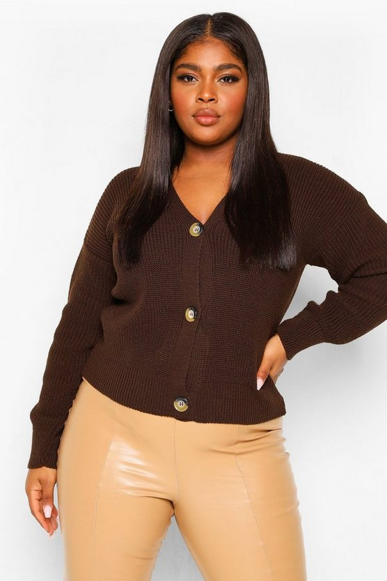 Womens Plus Button Cardigan - Chocolate - 46