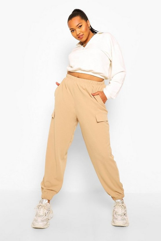 Womens Plus High Waist Button Front Pocket Cargo Trouser - Stone - 46