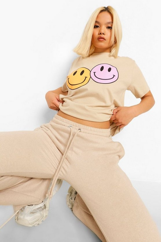 Womens Petite Smiley Face Oversized T-Shirt - Sand - M