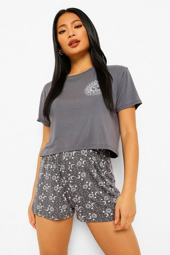 Womens Petite Celestial Pj Short Set - Grey - 40