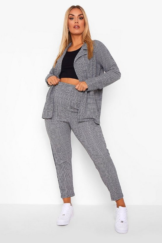 Womens Plus Check Side Stripe Suit Co-Ord - Grey - 46