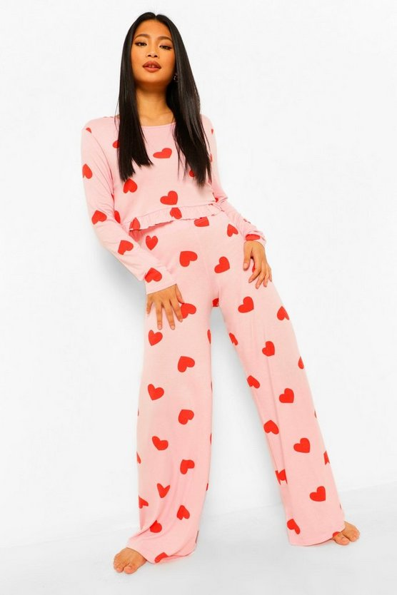 Womens Petite Heart Print Wide Leg Pj Trouser Set - Baby Pink - 40