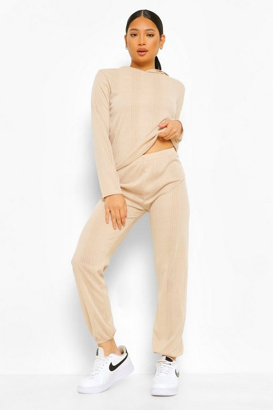 Womens Petite Knitted Hoody & Jogger Co-Ord Set - Stone - 40