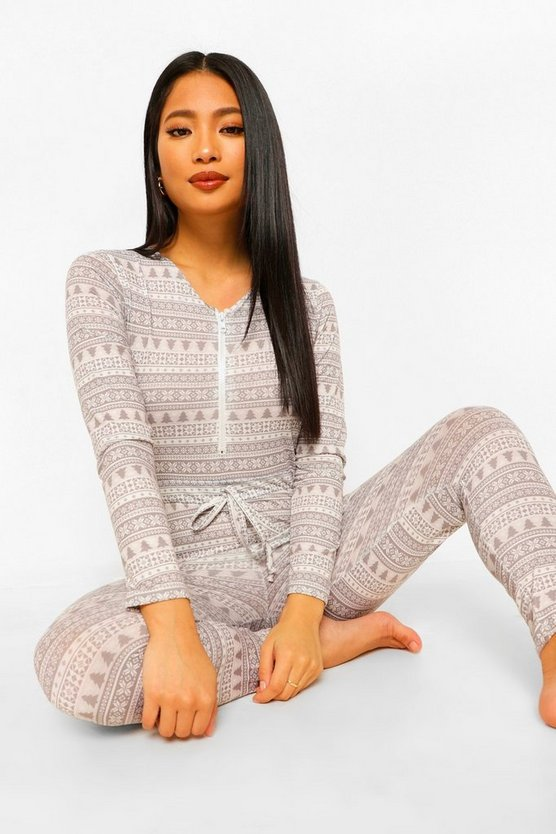 Womens Petite Christmas Onesie - Grey - 40