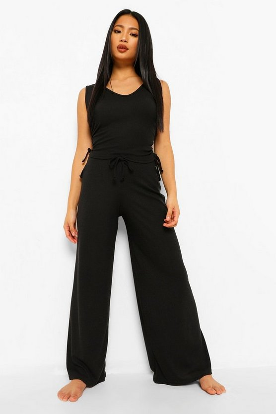 Womens Petite Rib Side Ruched Vest & Flare Trouser Pj Set - Black - 30