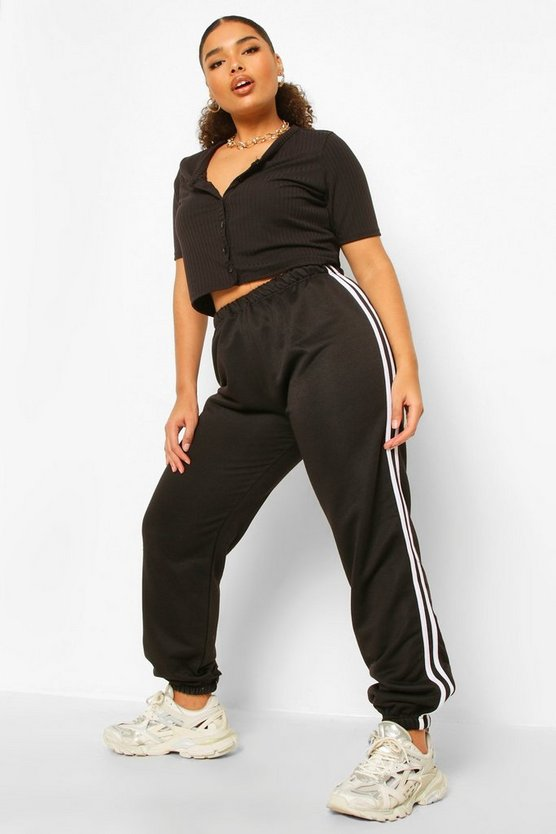 Womens Plus Stripe Side Joggers - Black - 46