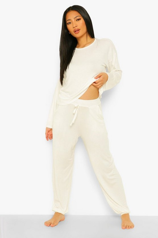 Womens Petite Tie Front Sweat & Relaxed Jogger Pj Set - Cream - 40