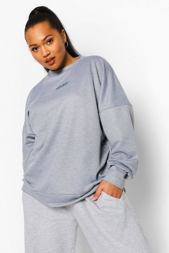 Womens Plus Embroidered Oversized Sweat - Grey - 46