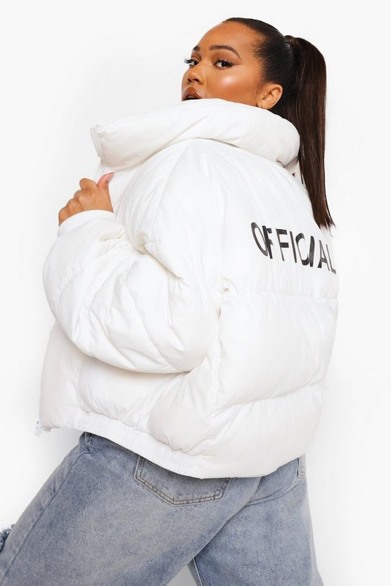 Womens Plus Official Puffer Coat - White - 44