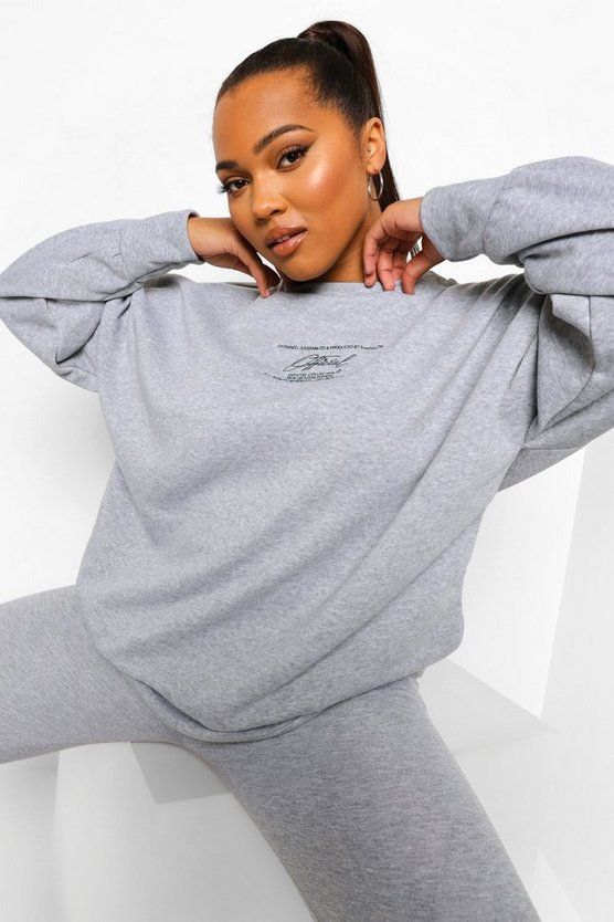 Womens Plus Embroidered Label Sweat - Grey - 46