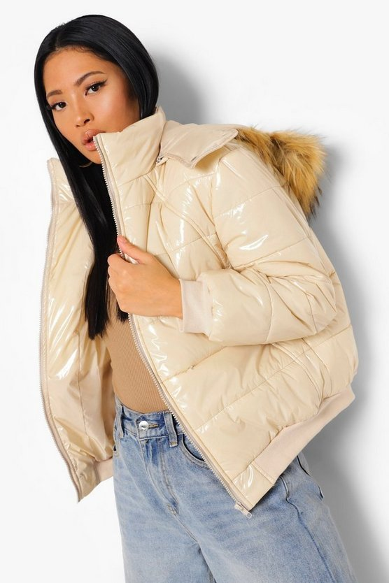 Womens Petite Faux Fur Hooded Oversized Puffer Jacket - Sand - S