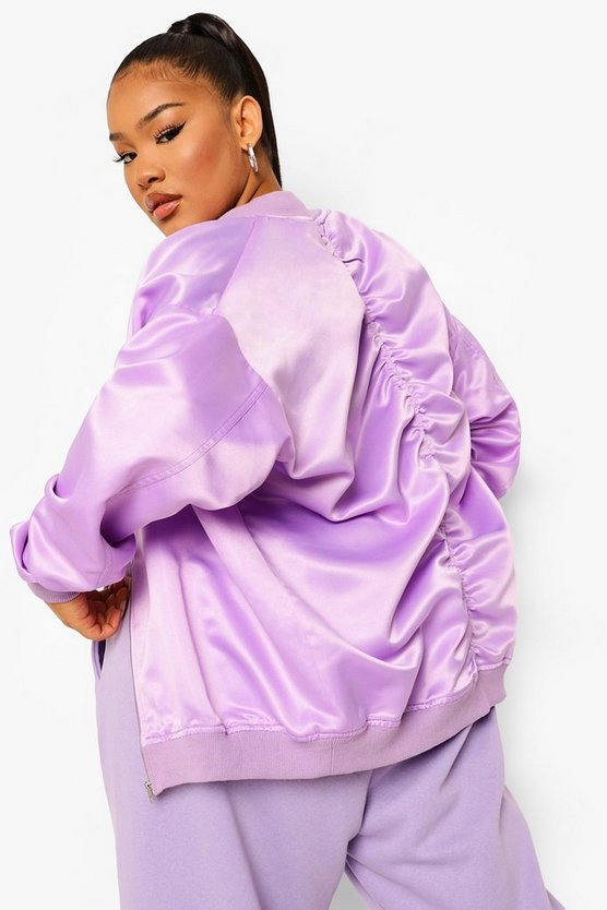 Womens Plus Oversized Ruched Back Satin Bomber - Lilac - 46