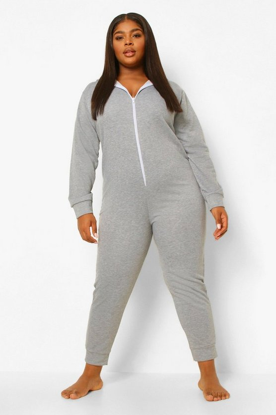 Womens Plus Lounge Loopback Hooded Onesie - Grey Marl - 46