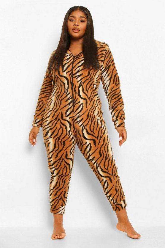 Womens Plus Tiger Fleece Onesie - Brown - 46
