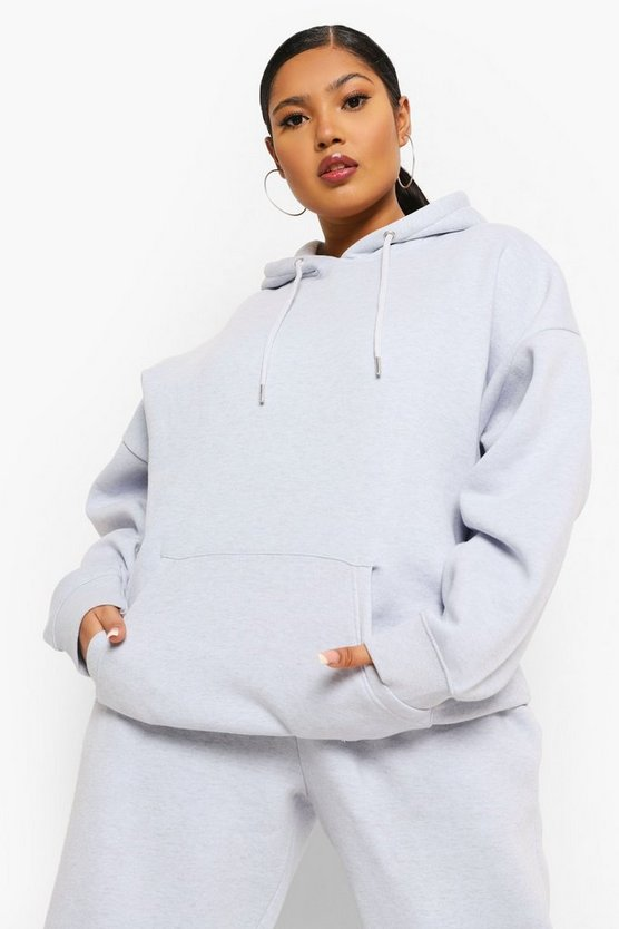 Womens Plus Overdye Oversized Hoodie - Light Blue - 46