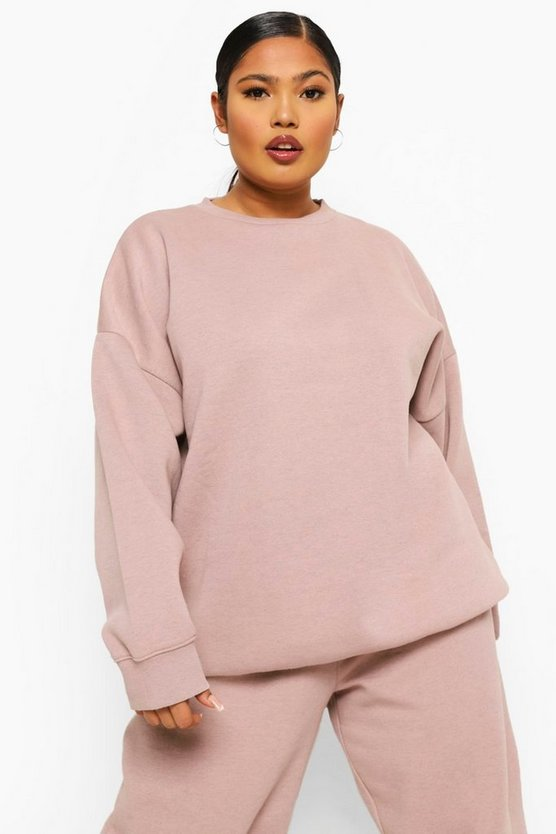 Womens Plus Overdye Oversized Sweatshirt - Dusky Pink - 46