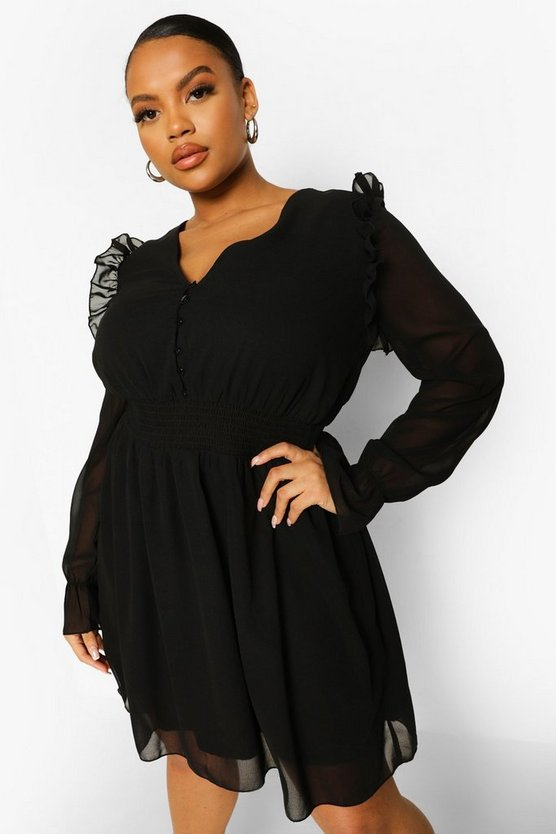 Womens Plus Woven Button Front Shirred Smock Dress - Black - 46