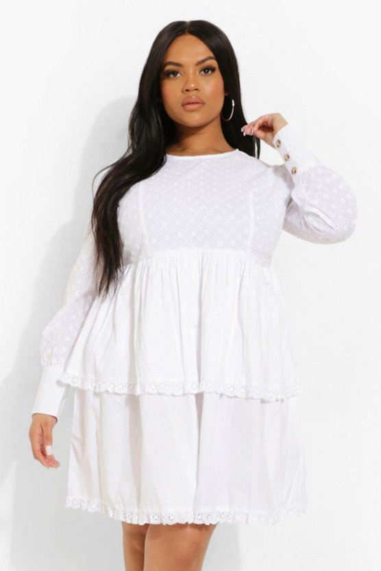 Womens Plus Broderie Ruffle Tiered Skater Dress - White - 46