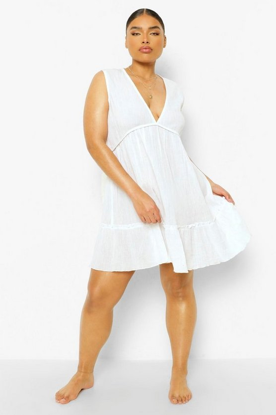 Womens Plus Ruffle Hem Beach Dress - White - 52