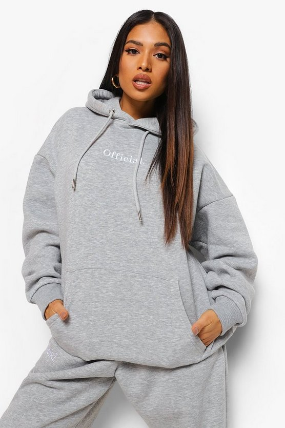 Womens Petite Official Oversized Embroidered Hoodie - Grey Marl - M
