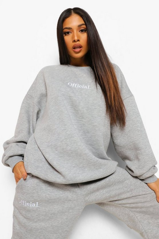 Womens Petite Official Oversized Embroidered Sweat - Grey Marl - M