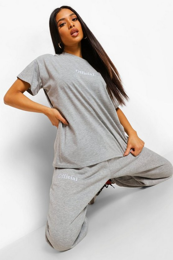 Womens Petite Official Embroidered Jogger - Grey Marl - M