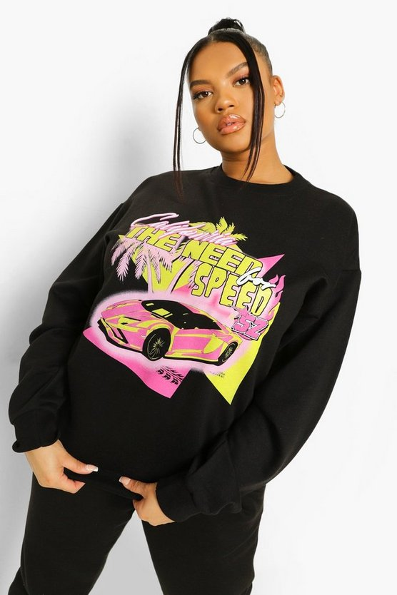 Womens Plus Moto Graphic Oversized Sweat - Black - 46