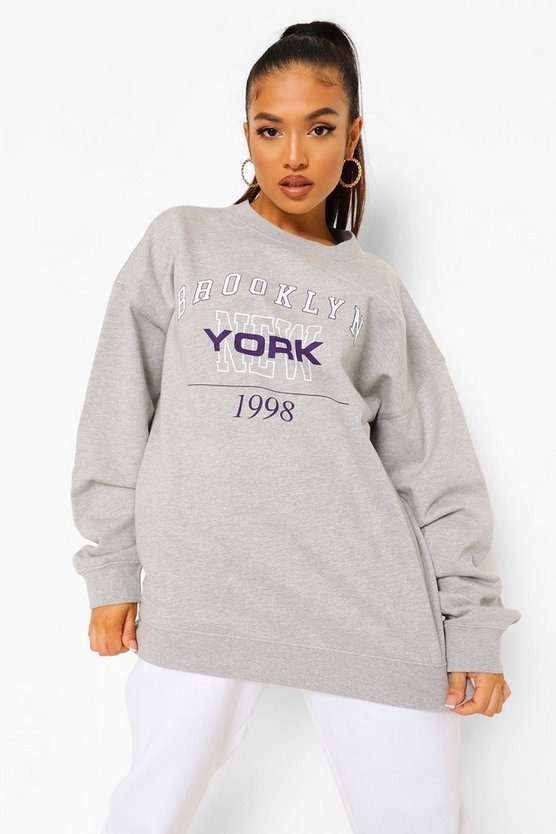 Womens Petite Brooklyn Oversized Sweat - Grey Marl - M