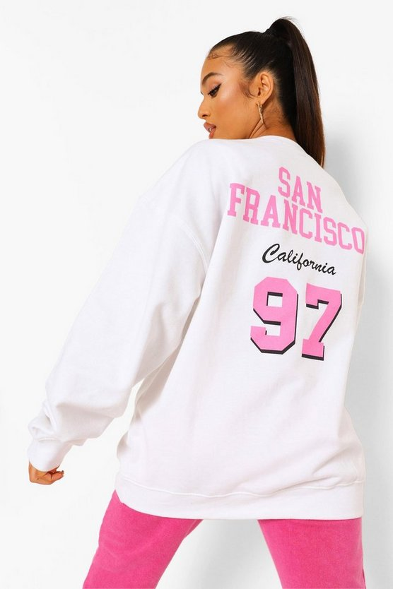 Womens Petite San Fran Back Print Oversized Sweat - White - M