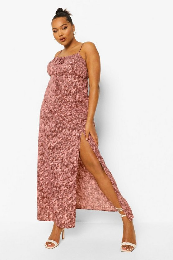 Womens Plus Ditsy Floral Strappy Maxi Dress - Rust - 46