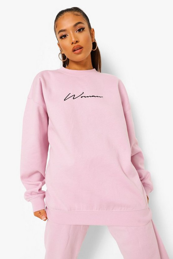 Womens Petite Woman Embroidered Oversized Sweat - Lilac - M