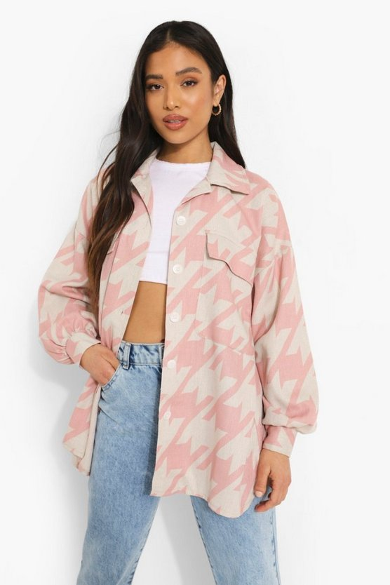 Womens Petite Dogtooth Print Oversized Shacket - Pale Pink - 32