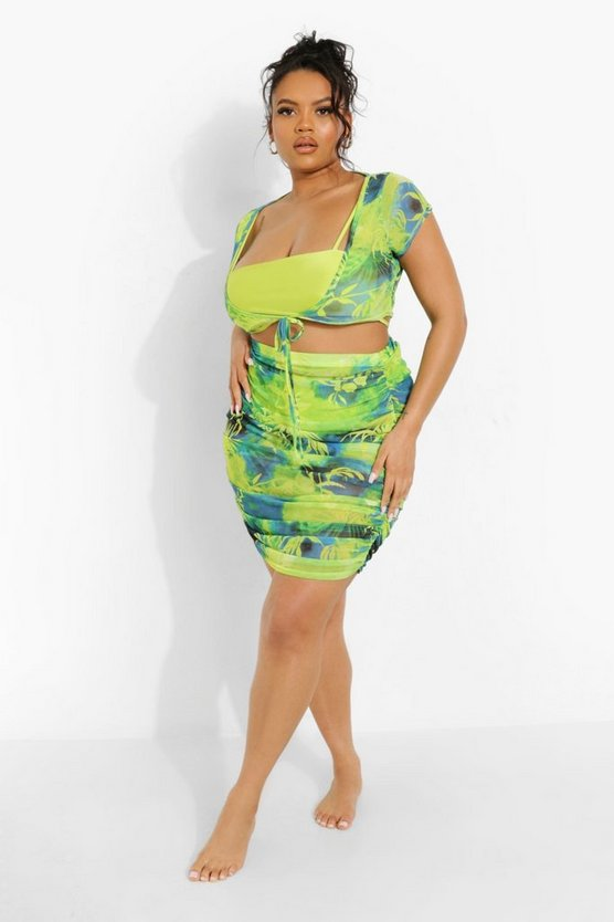 Womens Plus Tropicana Mesh Beach Skirt Co-Ord - Blue - 54