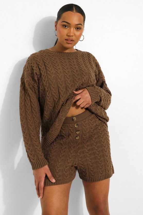 Womens Plus Cable Knit Button Short Set - Taupe - 46