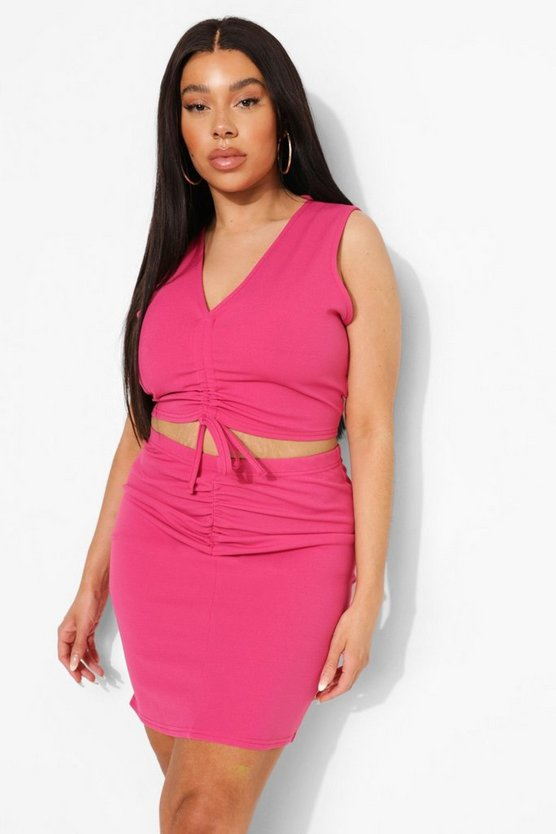 Womens Plus Gerüsches Co-Ord Mit Rock - Pink - 52